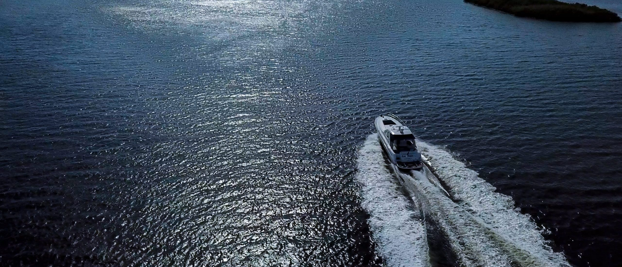 Aerial shot of motor yacht